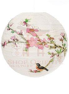 Luminária Japonesa Redonda Pássaro 40 cm