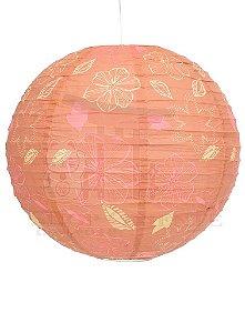 Luminária Japonesa Redonda Rosa Decorada 40 cm
