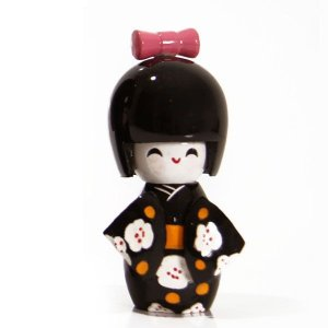 Boneca Kokeshi Pequena - Preto Sakura