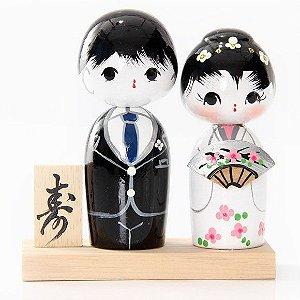 Casal de Kokeshi com Base - Preto e Branco