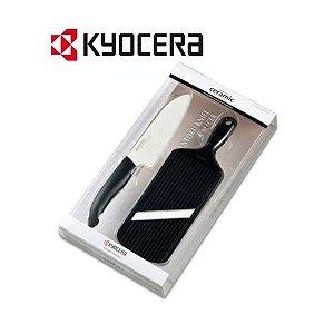 Kit Faca de Cerâmica e Fatiador Ajustável de Cerâmica Preto - Kyocera