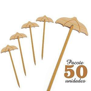 Espeto de Bambu decorado Guarda Chuva 12 cm com 50 unidades