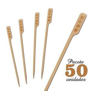 Espeto de Bambu decorado Ideograma 18 cm com 50 unidades