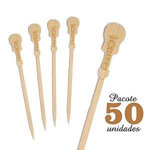 Espeto de Bambu decorado Violão 12 cm com 50 unidades