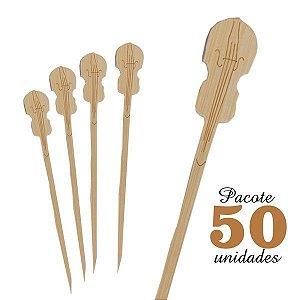 Espeto de Bambu decorado Violino 12 cm com 50 unidades