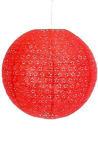 Luminária Japonesa Redonda Vazada 40 cm - Vermelha