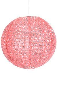 Luminária Japonesa Redonda Vazada 40 cm - Rosa