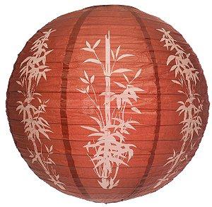 Luminária Japonesa Redonda Bambu Marrom 40 cm