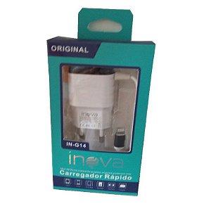 CARREGADOR RÁPIDO INOVA IN-G14 2.1A + 1 SAÍDA USB