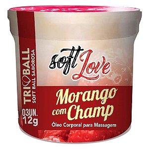 Bolinhas Soft Ball - Triball Saborosa Morango com Champ com 3 Unidades