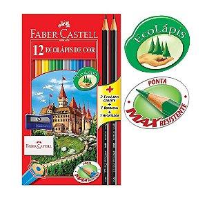 Lápis de Cor Sextavado EcoLápis 12 Cores 2 Lápis Preto Borracha e Apontador Faber Castell