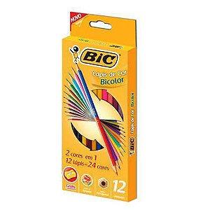 Lápis de Cor Sextavado Bicolor 24 Cores e Apontador Bic
