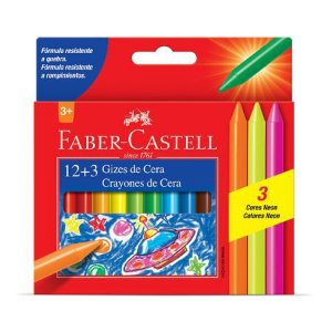 Giz de cera 15 cores fino Faber Castell