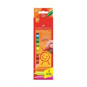 Giz de Cera Jumbo Resistente a Quebra 12 Cores 3 Neon Faber Castell