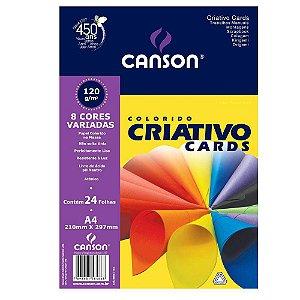 Bloco Colorido Criativo Cards Canson A4 120Grs 8 Cores 24 Folhas
