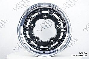 Roda Superleggera Aro 15 Preta Com Borda Diamantada para Estepe / 5 Furos (5x205)