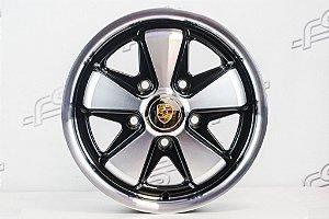 Roda 911 Fuchs Preta Diamantada Aro 15 Tala 4,5 / 5 Furos (5x130)