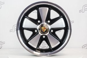 Roda 911 Fuchs Preta Diamantada Aro 15 Tala 6,5 / 5 Furos (5x130)