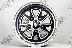 Roda 911 Fuchs II Preta Diamantado Fosco Aro 15 / 5 Furos (Kit com 4 Rodas)