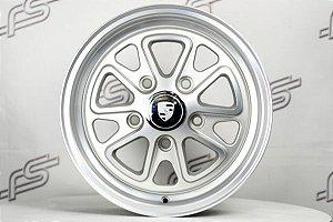 Roda 911 Fuchs II Prata Fosco Aro 15 / 5 Furos (Kit com 4 Rodas)
