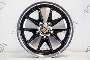 Roda 911 Fuchs Preta Diamantada Kombi Aro 15 Tala 5,5 / 5 Furos (5x112)
