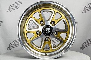 Roda 911 Fuchs II Dourado Diamantado Fosco Aro 15 / 5 Furos (KIT COM 4 RODAS)