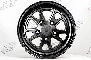 Roda 911 Fuchs II Preto Fosco Aro 15 / 5 Furos (Tala 4,5 PF)