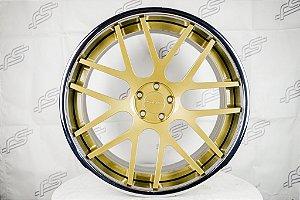 Jogo De Rodas GFG Crest Dourada Borda Cromo 5x112 -22x9 e 22x11