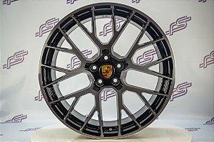 Jogo de Rodas Porsche Macan Turbo Preto Diamantado 5x112 - 20x9 E 20x10