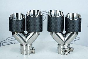 Ponteira Carbono Dupla New Style JTT-047 63x89mm (Kit com 2 ponteiras)