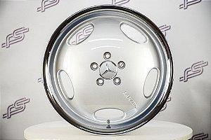 Jogo De Rodas Mercedes AMG Monobloco Prata Borda Polida 5x112 - 18x8,5 E 18x9,5