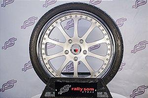 Jogo de Rodas Porsche Kinesis Prata Fosco 3Pçs 5x130 - 19x8,5 E 11 (Com Pneus)