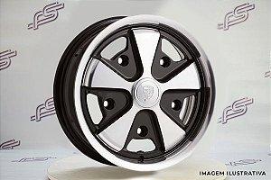 Roda 911 Fuchs Preta Diamantada Aro 15 / 5 Furos 5x205 (Tala 5,5)