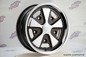 Roda 911 Fuchs Preta Diamantada Aro 15 / 5 Furos 5x205 (Tala 6,5)