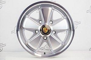 Roda 911 Fuchs Prata Diamantada Aro 15 Tala 5,5 / 5 Furos (5x130)