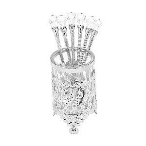 Conjunto 6 colheres com Suporte Zamac Niquelado Cristal 14 cm