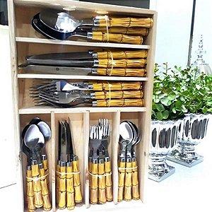 Faqueiro de Bambu 42 Peças Cabo de Plástico 3794 Bon Gourmet