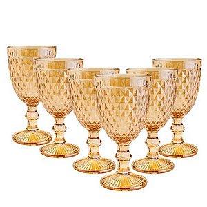 Jogo 6 Taças Bico de Abacaxi Âmbar Água Suco Vinho 325ml