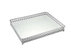Bandeja Prata em Metal com Espelho 27x19 cm