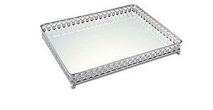 Bandeja Prata em Metal com Espelho 31x25 cm