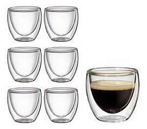 Conjunto 6 Copos com Parede Dupla para Café 70 ml