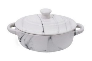 Mini Cocotte Oval Porcelana 200ml Mármore