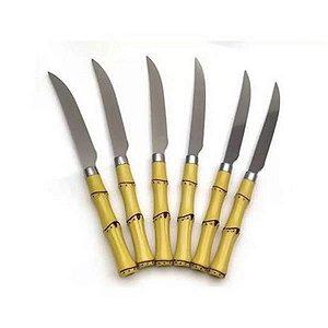 Jogo 06 facas churrasco Inox e Plástico Bamboo