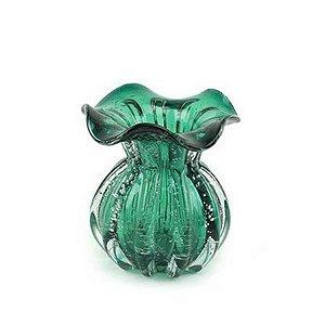 Vaso de Vidro Italy Verde Esmeralda