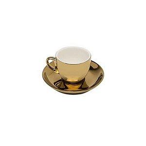 Conjunto 06 Xícaras Café Dourada Fundo Branca