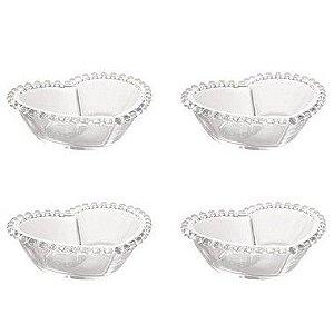 Conjunto 4 Bowls Cristal Coração Pearl Wolff 12x10x4