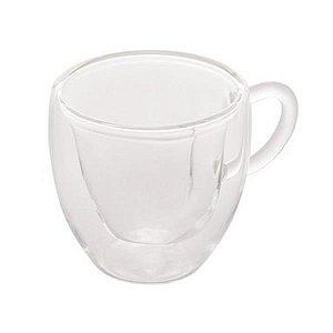 Conjunto 2 Xicaras Café Parede Dupla Vidro Borossilicato 80 ml Coração
