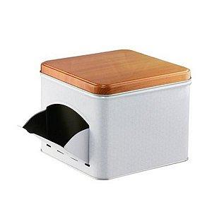 Lata Porta Capsulas de Metal Expresso Quality Branca15x15x12.5cm