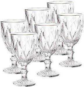 Jogo 6 Taças Água Diamond de Vidro Fio de Ouro 325ml