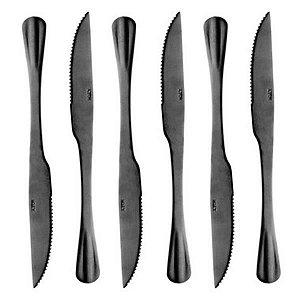 Conjunto 6 Facas Churrasco Aço Inox Positano Preto 23cm